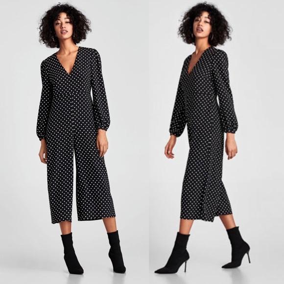 726e2bd06cb4 NWT Zara Polka Dot Long Sleeve V-neck Jumpsuit